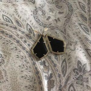 Kendra Scott Alex Gold Drop Earrings-Black